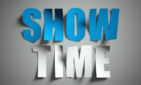 show time: Show time cut from paper, background Stock Photo