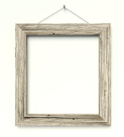 3d simple círculo viejo marco de madera, fondo de la vendimia