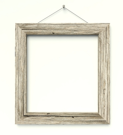 antique frame: 3d Simple old circle wooden frame, vintage background Stock Photo