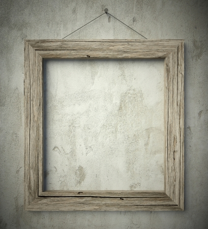 3d Simple old circle wooden frame, vintage background Stock Photo