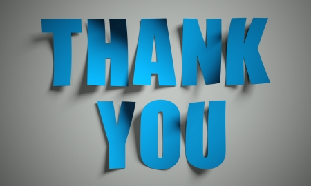 thanks: Thank you cut from paper, background