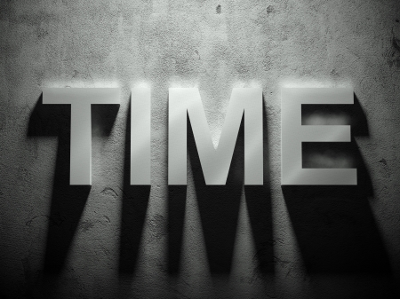 Time text with shadow, word background Stock Photo