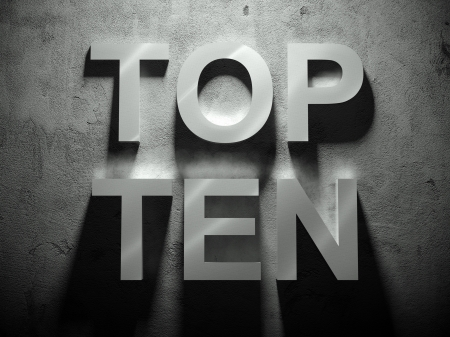 10 key: Top ten text with shadow, word background