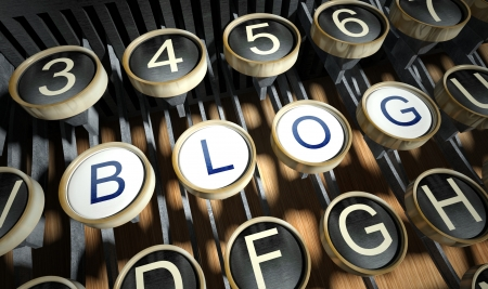 Máquina de escrever com blog botões, estilo do vintage Imagens
