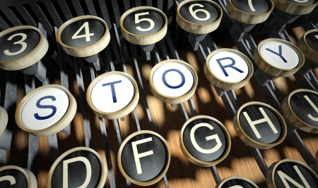 typebar: Typewriter with Story buttons, vintage style