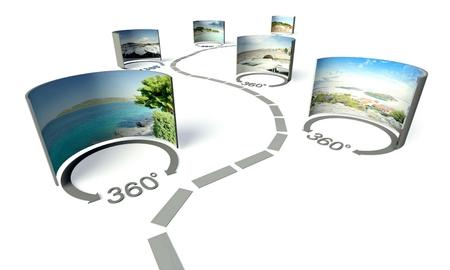 360 度パノラマのバーチャル ツアー 写真素材
