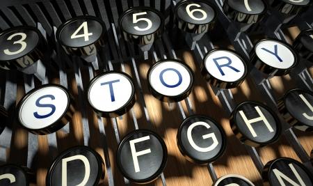 Máquina de escribir con el botón Historia, estilo vintage