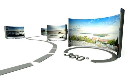 panoramic view: Virtual tour of 360 degrees panoramas