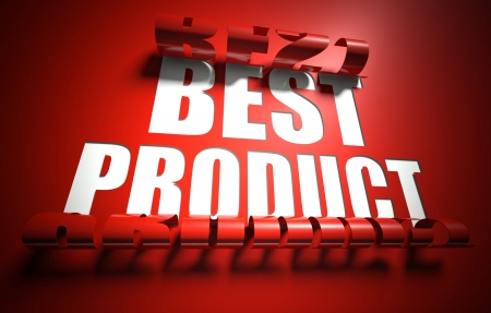 Best product concept, cut out in red background photo