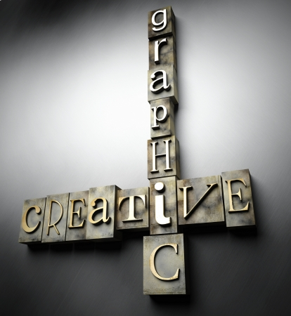 Creative graphic concept, 3d vintage letterpress text photo