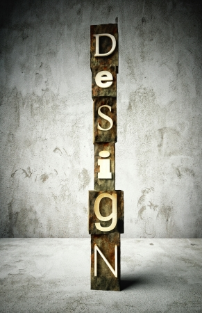 Design concept, retro vintage letterpress type on grunge background photo