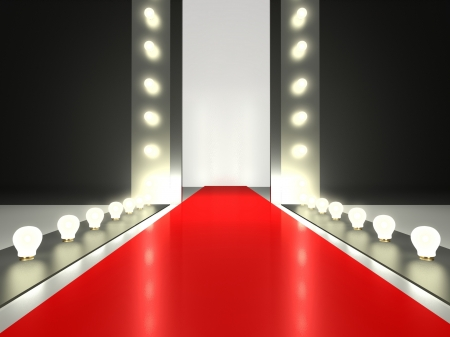 stage door: Empty red carpet, fashion runway illuminated by glowing light