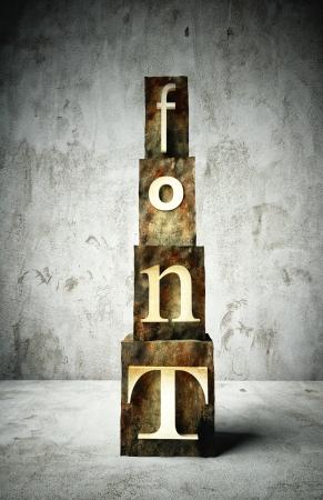 Font concept, retro vintage letterpress type on grunge background photo