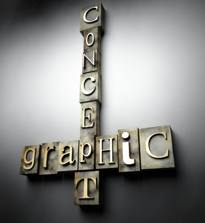 Graphic concept, 3d vintage letterpress text photo