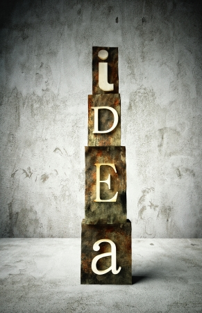 Idea concept, retro vintage letterpress type on grunge background photo