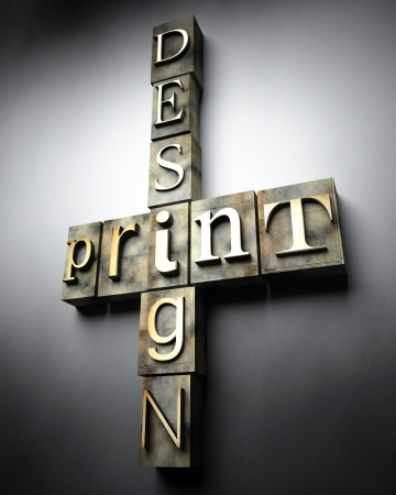 Print design concept, 3d vintage letterpress text photo