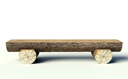 log on: Wooden bench made of tree trunks, object Stock Photo