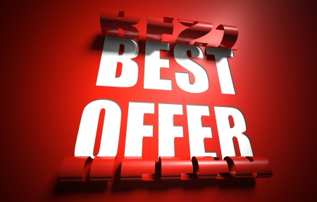 Best offer concept, cut out in red background photo
