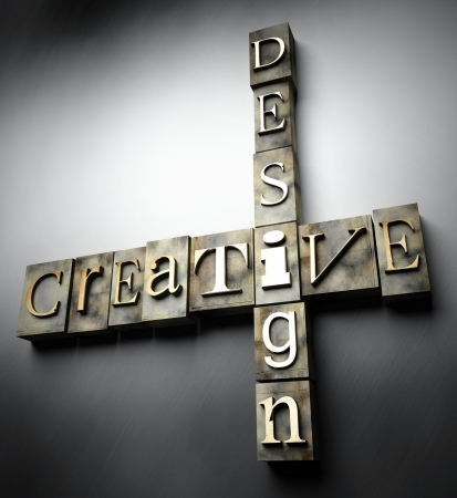 Creative design concept, 3d vintage letterpress text photo