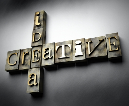 Creative idea concept, 3d vintage letterpress text photo