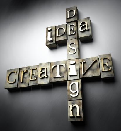 Creative idea design concept, 3d vintage letterpress text