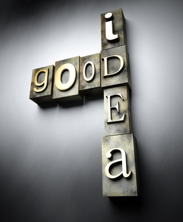 Good idea concept, 3d vintage letterpress text photo