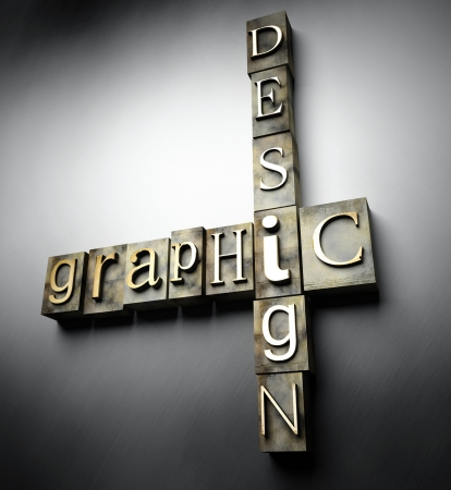 Graphic design concept, 3d vintage letterpress text photo
