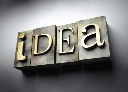 Idea concept, 3d vintage letterpress text photo
