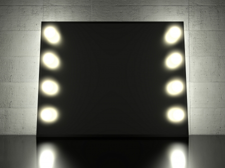 Makeup mirror with glowing light bulbs, background