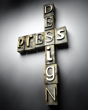 Press design concept, 3d vintage letterpress text photo