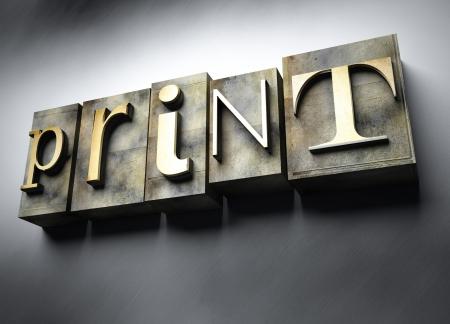 website words: Print concept, 3d vintage letterpress text