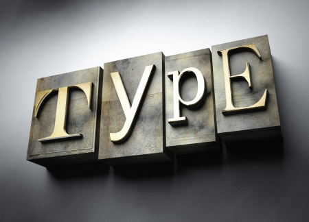 Type concept, 3d vintage letterpress text photo