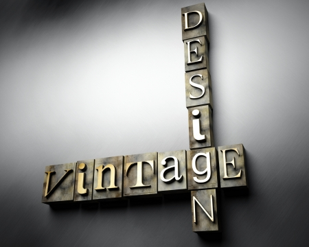 Vintage design concept, 3d retro letterpress text photo