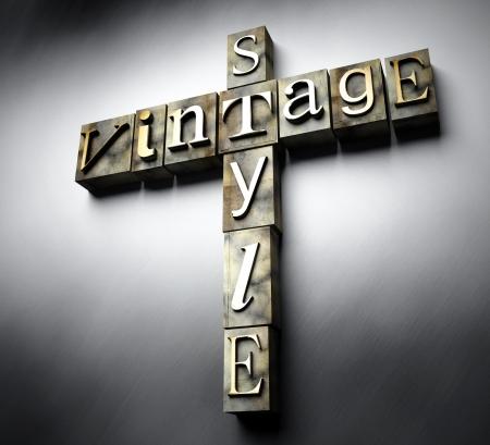 Vintage style concept, 3d retro letterpress text photo