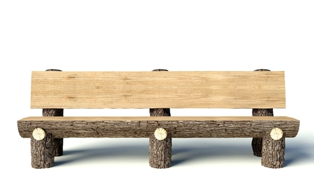 Wooden bench made of tree trunks, object photo
