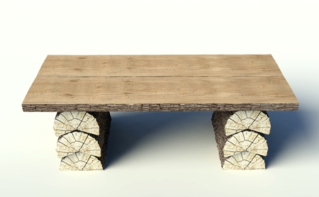 Wooden table made of tree trunks, object photo