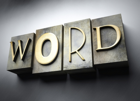 Word concept, 3d vintage letterpress text photo