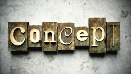 letterpress words: Design concept, retro vintage letterpress type on grunge