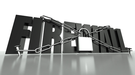 Firewall concept, safety padlock with chain photo