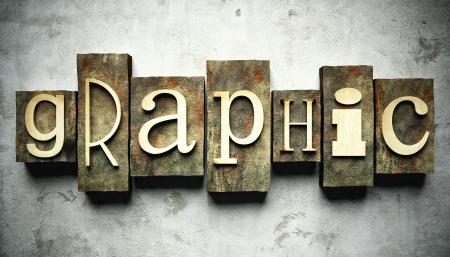 Graphic concept, retro vintage letterpress type on grunge