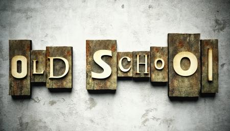 古い学校のコンセプトは、レトロなヴィンテージ活版グランジの入力します。