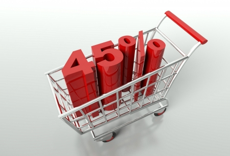 Shopping cart and red forty five percent discount, sale concept photo