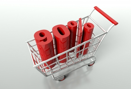 Shopping cart and red ninety percent discount, sale concept photo