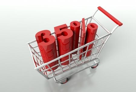 thirty five: Carrello e rosso trentacinque per cento di sconto, concetto di vendita Archivio Fotografico
