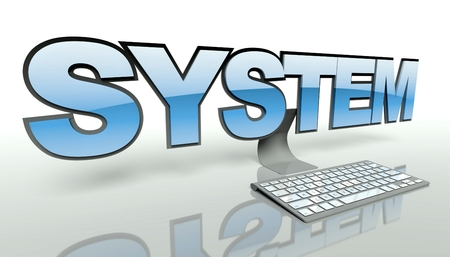 logon: System concept with computer and keyboard
