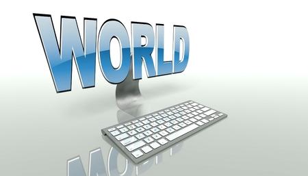 online world: Online world internet concept with keyboard Stock Photo