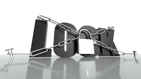 Lock concept, safety padlock with chain photo