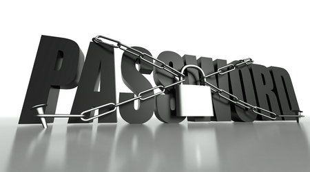 Password concept, safety padlock with chain photo