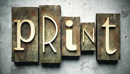 imprenta: Imprimir concepto, el tipo de tipografía de época retro de grunge