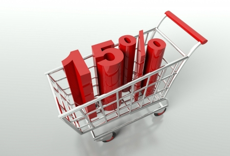 Shopping cart and red fifteen percent discount, sale concept photo